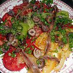 recette Salade de tomate de couleurs aux anchois et olives