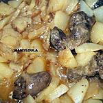 recette Pomme de terre aux oignons et abats de canette