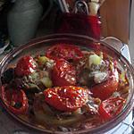 pommes  de terre  farcies avec    restes de pintade