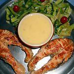 Darne de saumon grillée beurre blanc,tagliatelles de courgettes