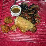 assiette,,,  bouchées aux carottes  p de terre, comté  de nathalie  une cuisine pour voozenoo  et reste de poulet,  champignons noirs
