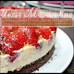 recette **Tarte mousseline aux fraises sur sablé chocolat gelée pistachée au Noyau de Poissy **