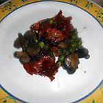 recette Poelee de chorizo  au petit pois et champignon