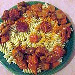 recette Fusillis au chorizo creme tomatée champignons
