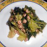recette Poele de Crevette gris au chou vert et haricot vert