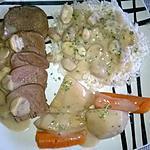 recette 2 éme étape de la langue ; langue sauce suprême aux champignons et riz ,