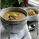 recette ~Potage à la courge, haricots blancs et garniture de quinoa aux herbes fraîches~