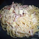 Spaghetti à la carbonara au camembert