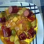 recette goulash de p. de terres aux saucisses fumées ,