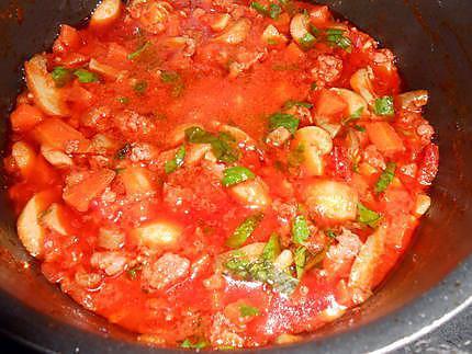 spaghettade saucisse et champignons 430