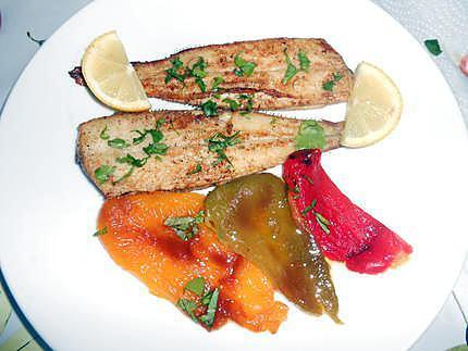 Petites soles grillées et poivron en salade 430