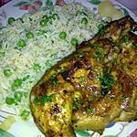 recette poulet épicé rotis:avec riz aux petits pois
