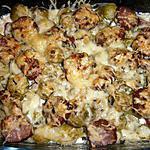 recette Gratin de pommes de terre, choux de Bruxelles et saucisses de Montbéliard
