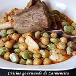 recette Souris d'agneau aux fèves vertes et pois chiche