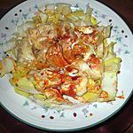 recette assiette  ..gratin   grosse pate et reste des coquilles crevettes poireaux blog  l eau a la bouche