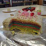 recette RAINBOW CAKE pour l anniversaire de JADE a l ecole