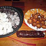recette assortiments de gourmandises pour  noél ,   truffes,   gateau de pentrez    certains   avec clémentines confites   de ploumanach,:  meringues de josette baysse; saucisson au chocolat