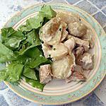 recette Salade tiède de pomme de terre au poulet à la crème