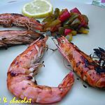 recette GAMBAS grillées légèrement enrobées au Miel, citron, Soja, Estragon & son trio de Poivrons
