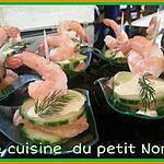 recette Mille feuilles de concombre crevettes et pamplemousse