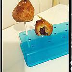recette sucette de choux à la mousse chocolat nnoir praliné et son caramel