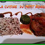 recette Osso bucco de dinde a la provençale ,  flan d épinards  et son riz tricolore  sauvage !