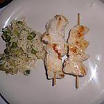 recette Brochette de poulet et riz au legume vert
