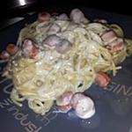 recette Spaghettis à la carbonara aux saucisses de strasbourg