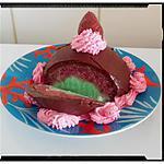 recette dôme glacé pistache fraise nappé au chocolat