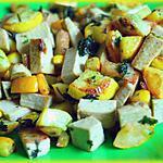 recette Poêlée estivale aux courgettes jaunes, tofu fumé et oigons nouveaux