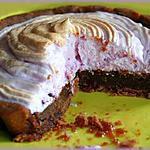 recette Tartelettes choco/pralinées en meringue rose.
