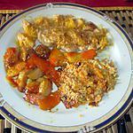 recette cote de porc  et navets a l orange avec crumble   a la courge  de  l eau  a la bouche