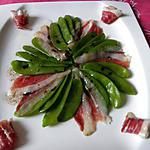 recette salade pois gourmand et magret de canard fumé