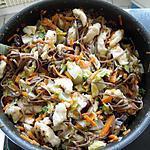recette Nouilles saba sautées au chou chinois, poulet et bâtonnets de carottes