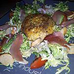 recette Frisée au jambon de parme et saint marcelin chaud panés