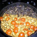 recette émincés de blancs de poulets curry paprika ,tomates cerises et champignons.