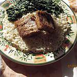 recette pavés de colin sur lit de riz et épinards goûteux