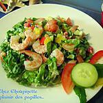 ~Salade étagée aux crevettes, vinaigrette crémeuse relevée~