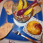 recette assiette apéritif   , a base de     rapé de la mer   et creme   de chorizo de dineavec sandrine