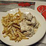 recette Emincé de dinde, sauce à la moutarde avec frites de céleri