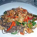 recette Nouilles sautées aux crevettes et aux porcs
