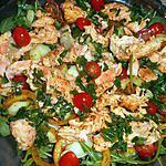 recette Emincé de saumon sur salade tiède