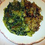 recette foie  de porc pané   ,,,    épinards pommes de terre au curry