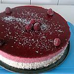 recette Bavarois mousse chocolat blanc, noix de coco, framboise