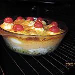 recette jambon en béchamel tomatée et oeufs durs châpeautés