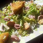 recette Frisée au jambon champignons et camembert pané