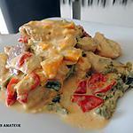 recette Emincé de poulet, chorizo aux 3 poivrons et courgettes