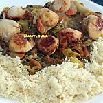 recette Saint jacques flambées à l'Armagnac et ses légumes