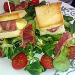 recette Salade et ses toast de crotin de chevre enlardé et chips de lard