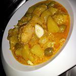 recette Râgout de pomme de terre au poulet et olives sauce curry